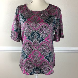 The Limited Size Small Floral Blouse Pink Teal